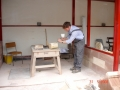 Stonemason at work, Worcester Cathedral 2008