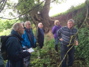 Chris imparting geological field observation techniques to a captive audience at the Nubbins, Martley