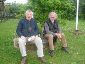 Two men on a millstone! Chris Darmon (left) with Ian Williams at Severn valley Country Park during the launch weekend of GeoFest 2015 — at Severn Valley Country Park.