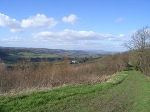View across the Teme Valley to the Bromyard Plateau and the Clee Hills (north), from Pudford Hill ridgeline